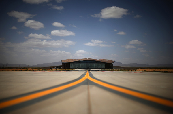 Spaceport America's Virgin Galactic Gateway to Space Building is seen near Truth or Consequences