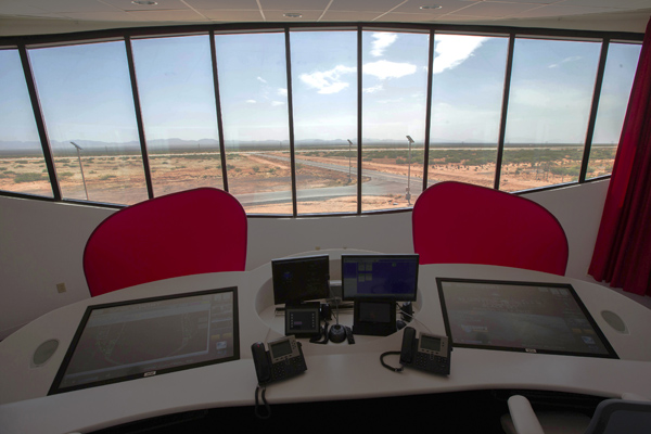 The main runway mission control is seen at Spaceport near Truth or Consequences