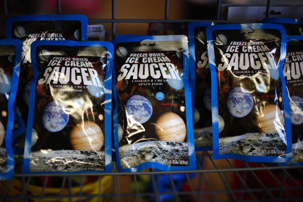Freeze-dried space food is sold in the Space Place New Mexico store in Elephant Butte