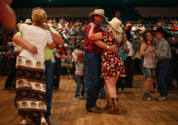 People dance to a band during the annual Fiesta in Truth or Consequences