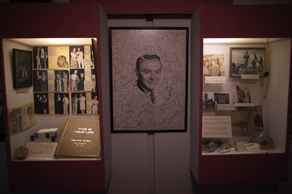 A display in honor of radio quiz show host Ralph Edwards, whose show the town was named after, is seen in Geronimo Springs museum in Truth or Consequences