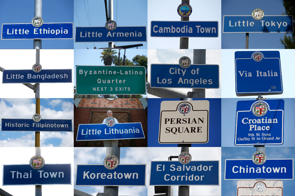 Los Angeles area street signs mark the boundaries of ethnic neighborhoods in Los Angeles, Long Beach and San Pedro