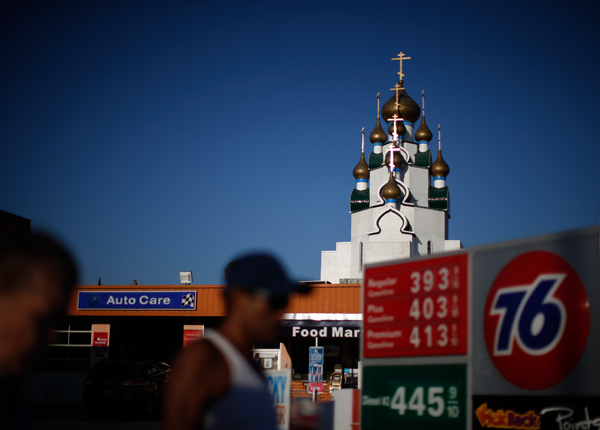 People walk past a Russian Orthodox Church in Hollywood